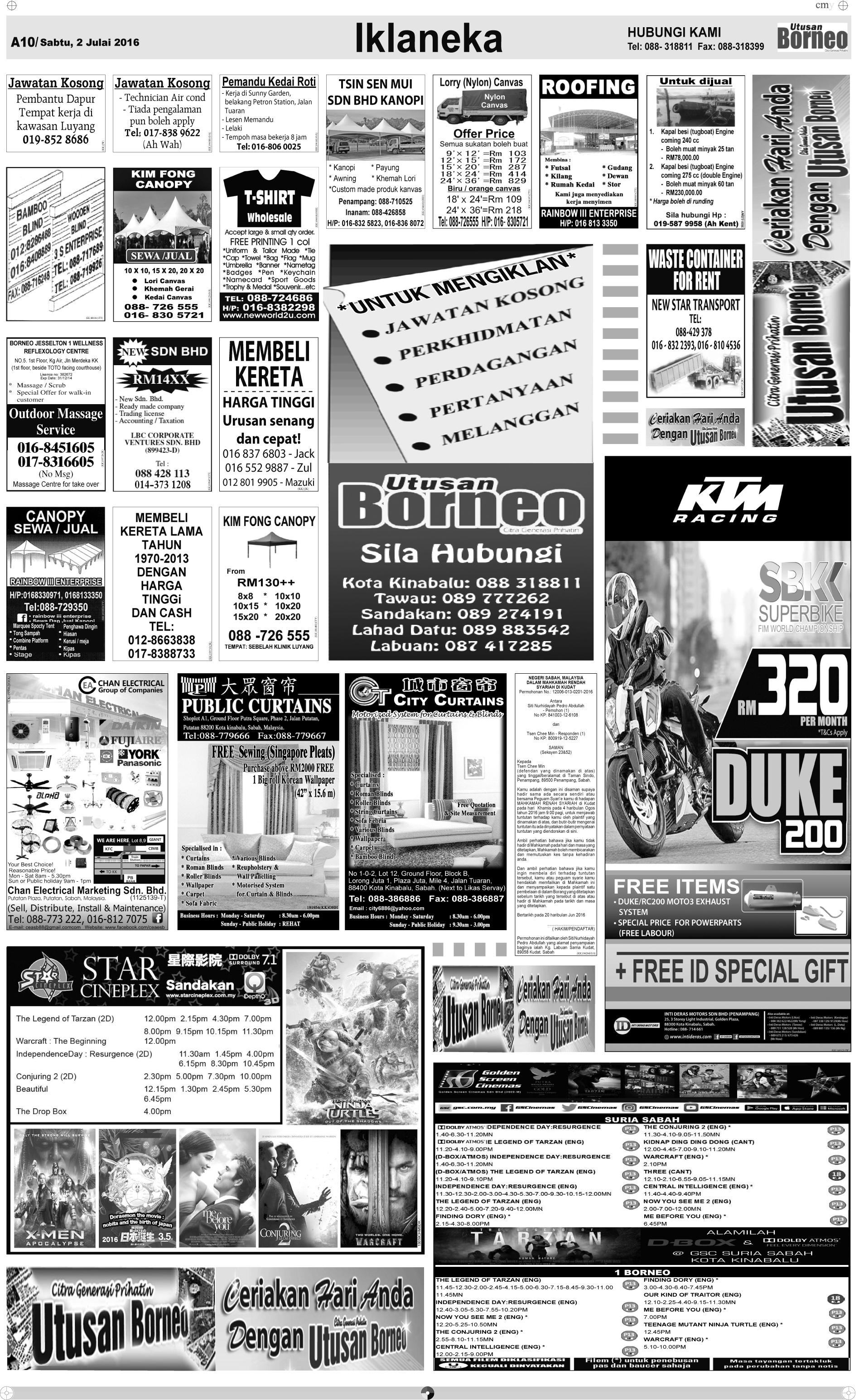 Saturday - Jul 2   The Borneo Post Classifieds