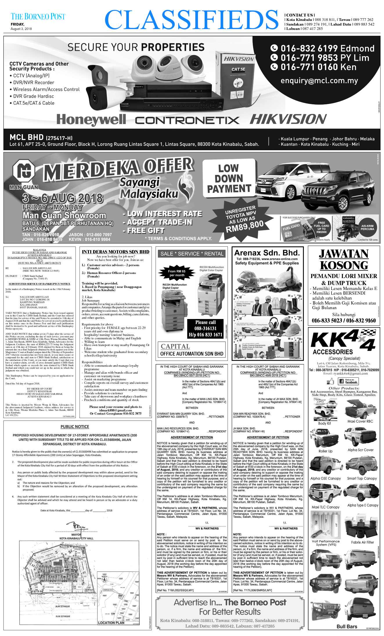 Friday - Aug 3 | The Borneo Post Classifieds