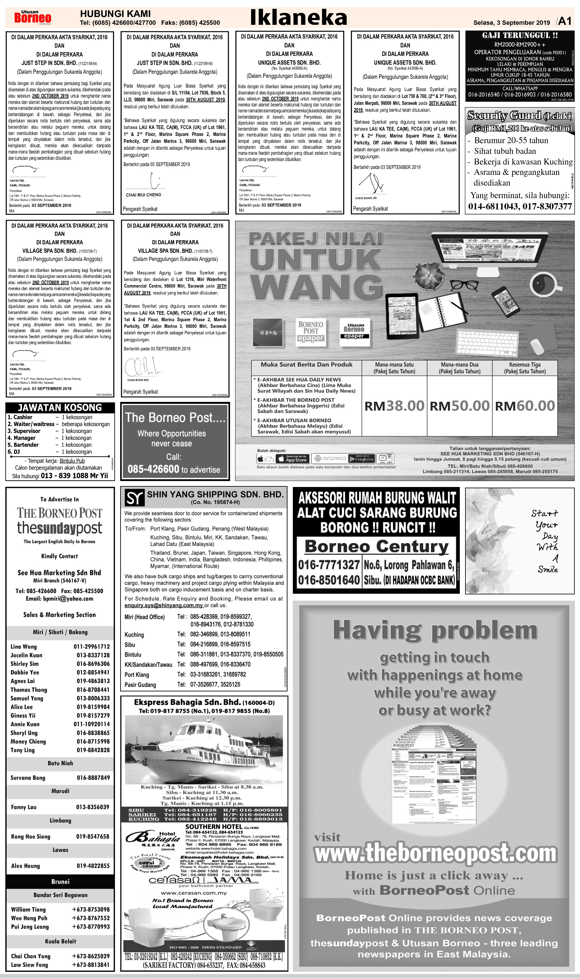 Tuesday - Sep 3   The Borneo Post Classifieds