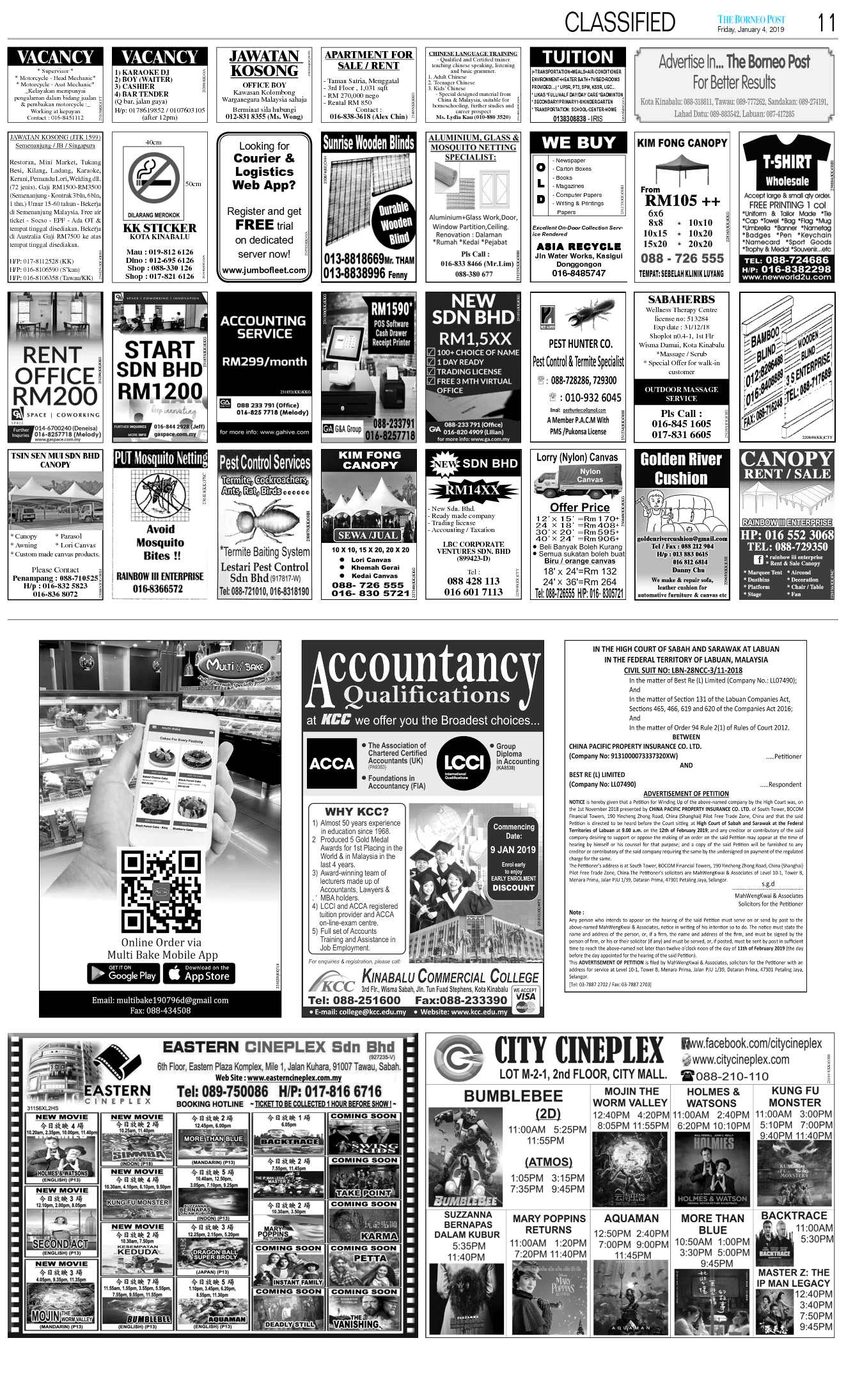 Friday - Jan 4 | The Borneo Post Classifieds
