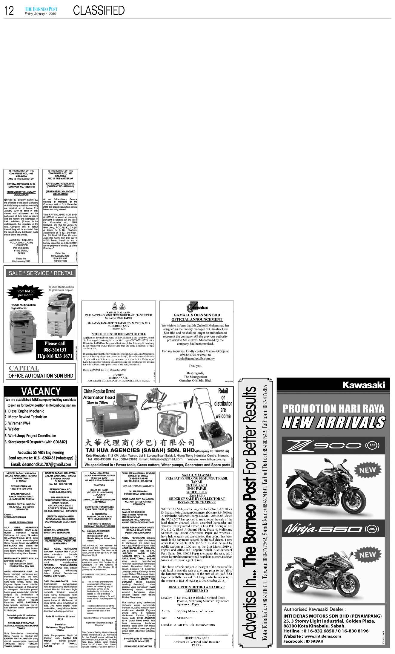Friday - Jan 4   The Borneo Post Classifieds