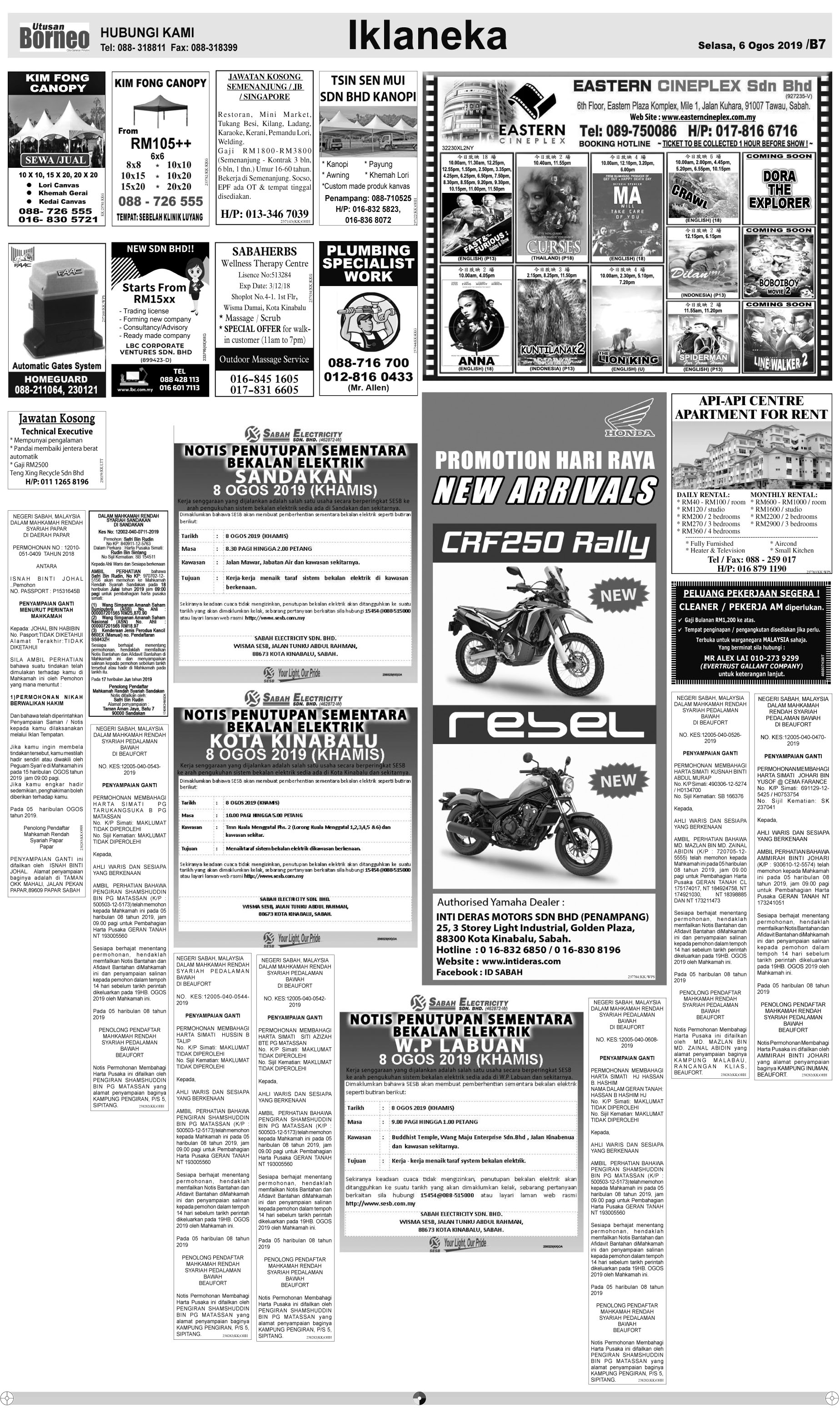 Tuesday - Aug 6 | The Borneo Post Classifieds