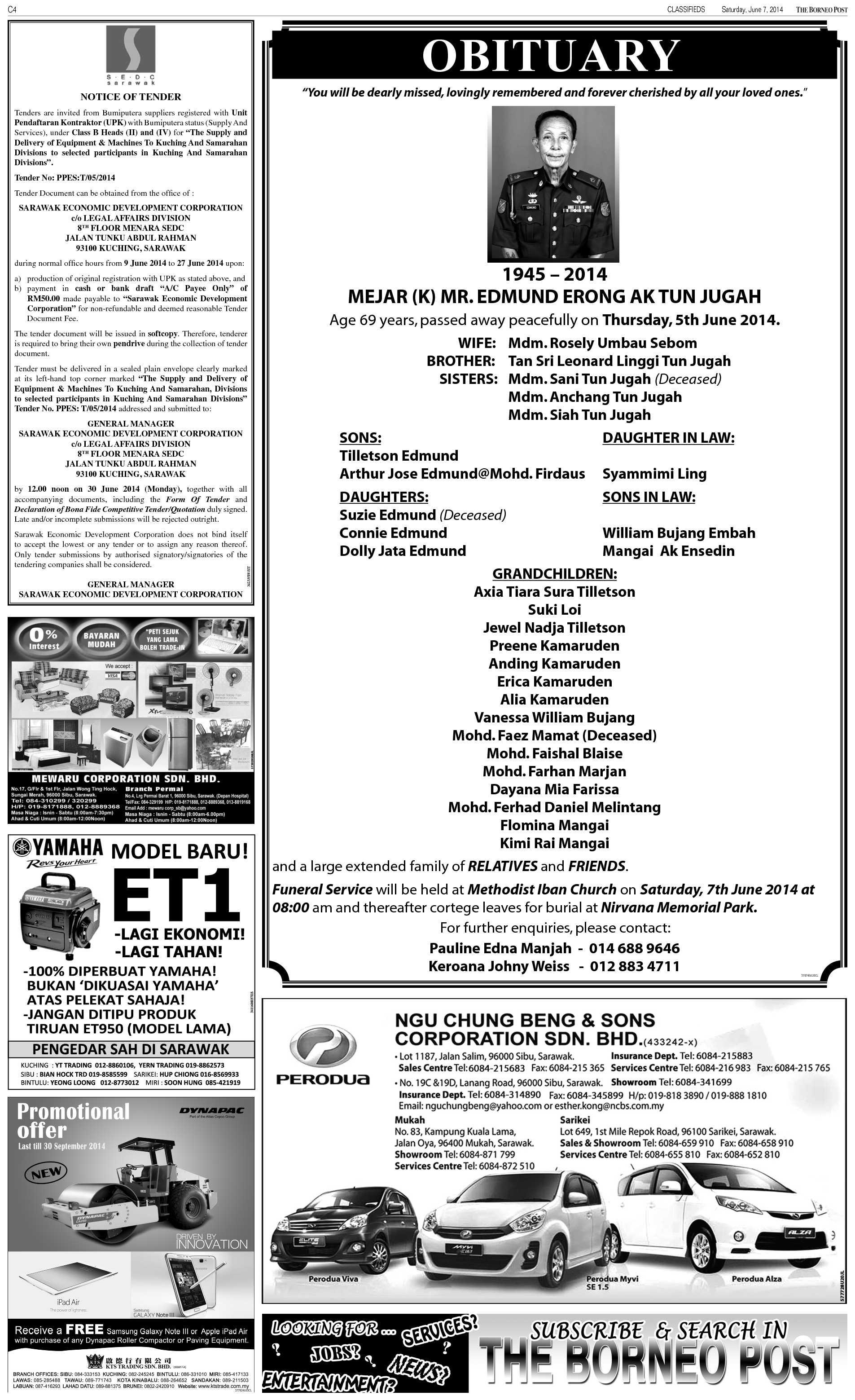 Saturday - Jun 7 | The Borneo Post Classifieds