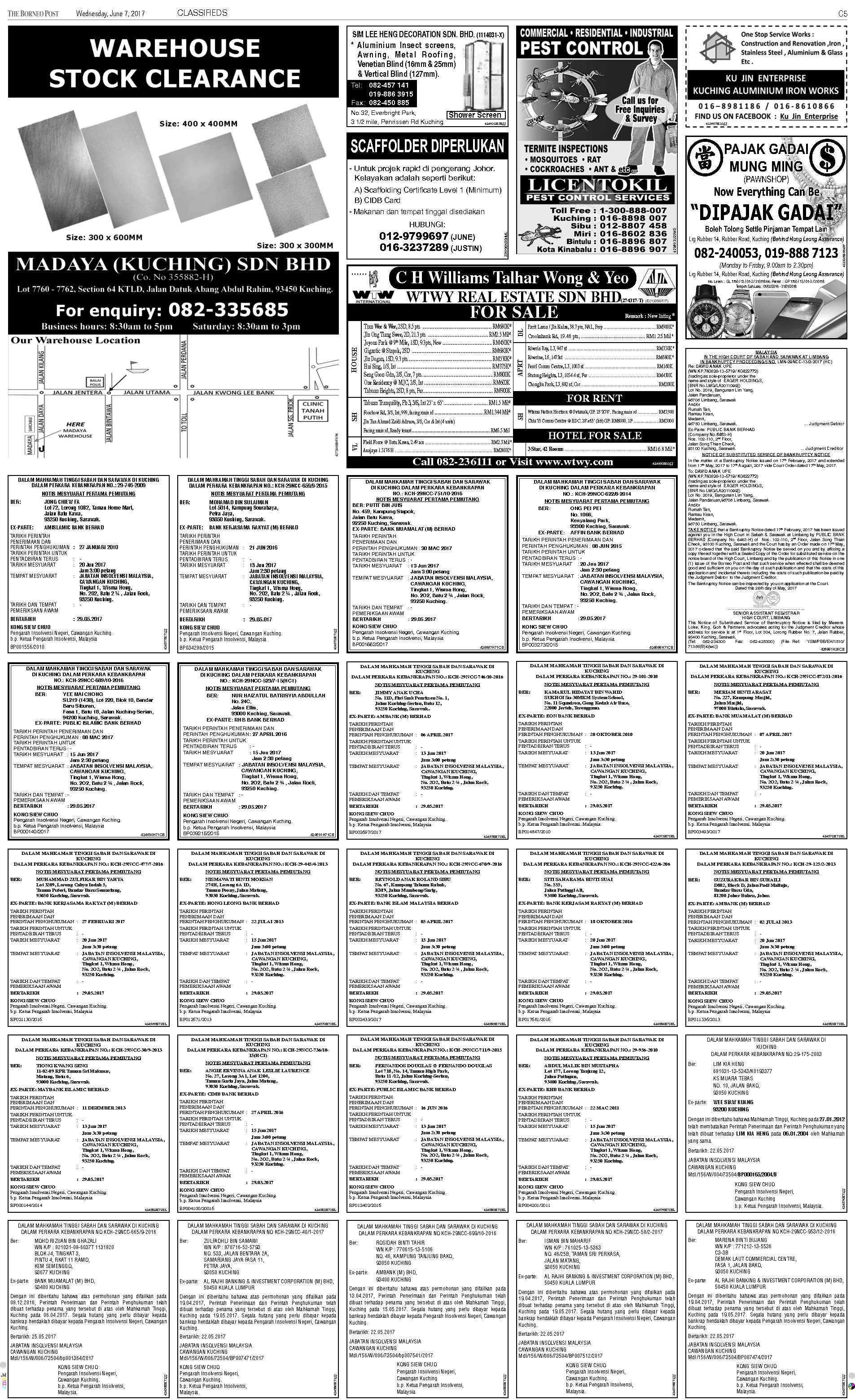 Wednesday - Jun 7 | The Borneo Post Classifieds