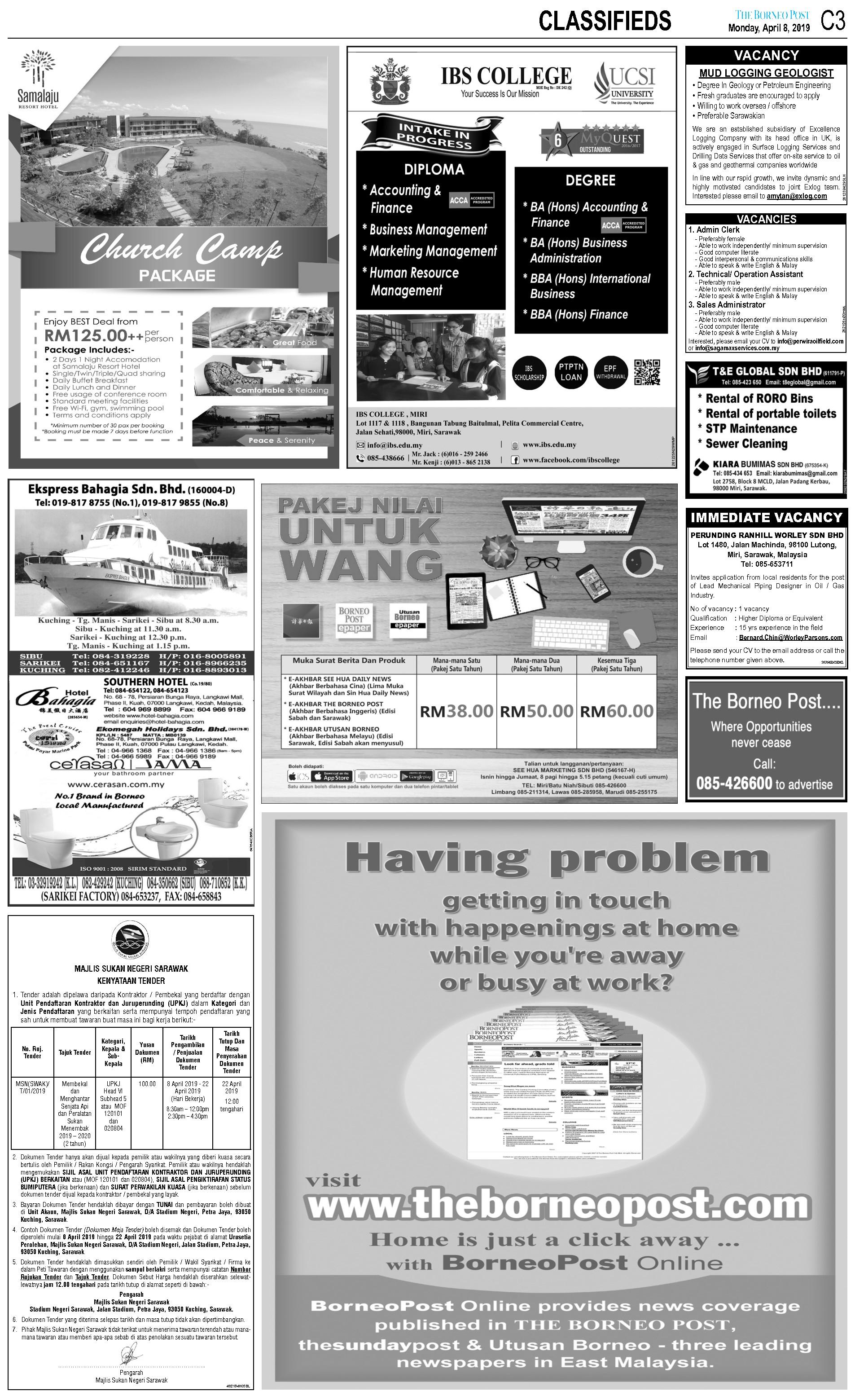 Monday - Apr 8   The Borneo Post Classifieds
