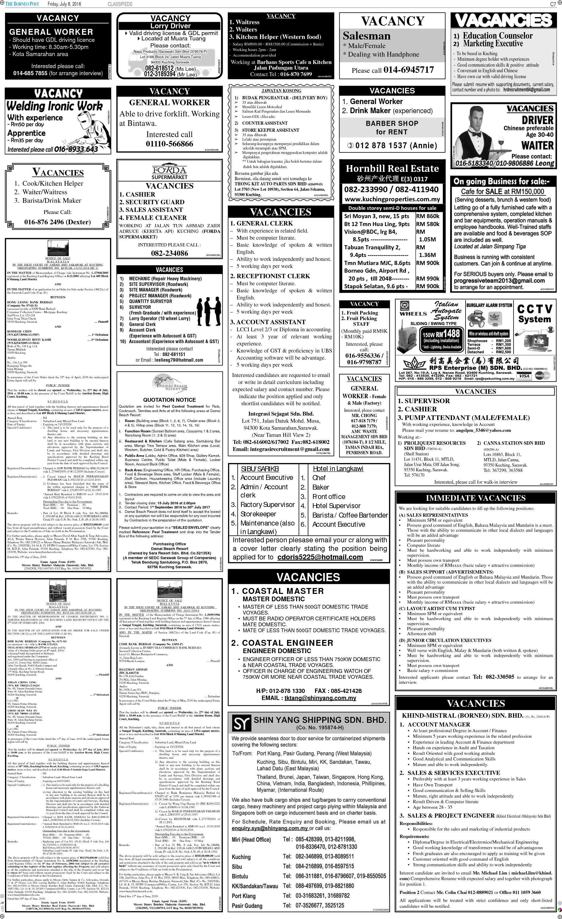 Friday - Jul 8 | The Borneo Post Classifieds
