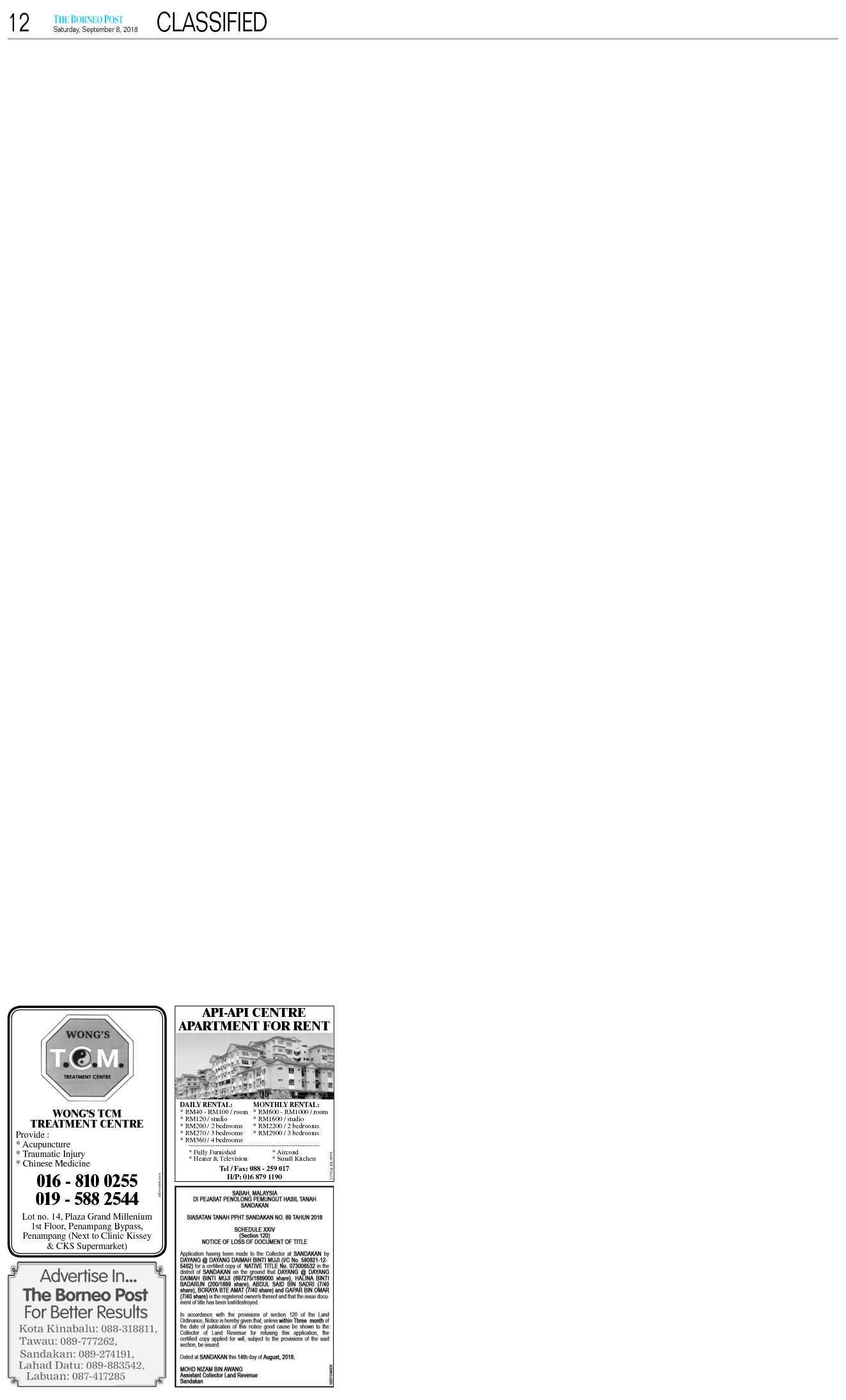 Saturday - Sep 8 | The Borneo Post Classifieds