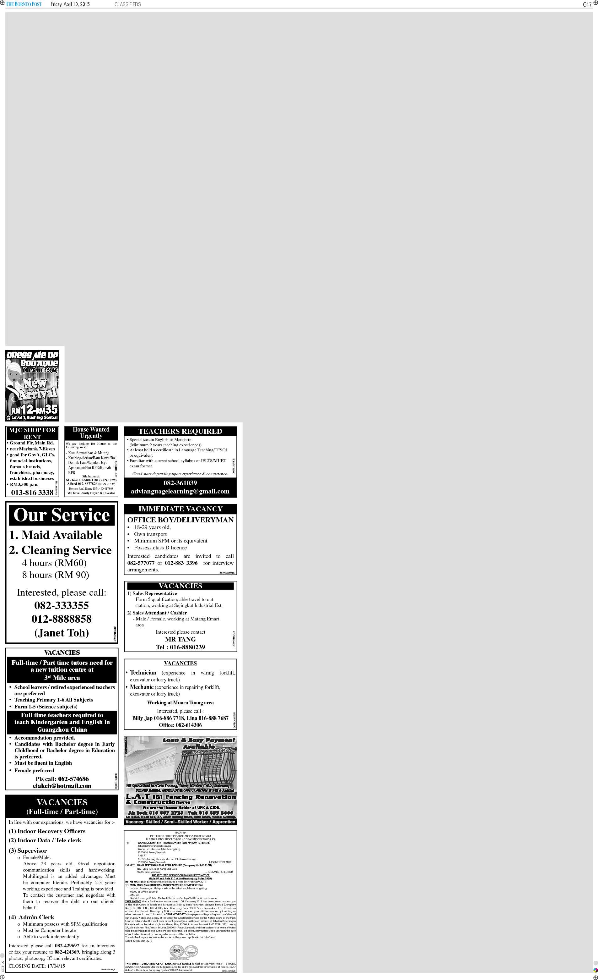 Friday - Apr 10 | The Borneo Post Classifieds
