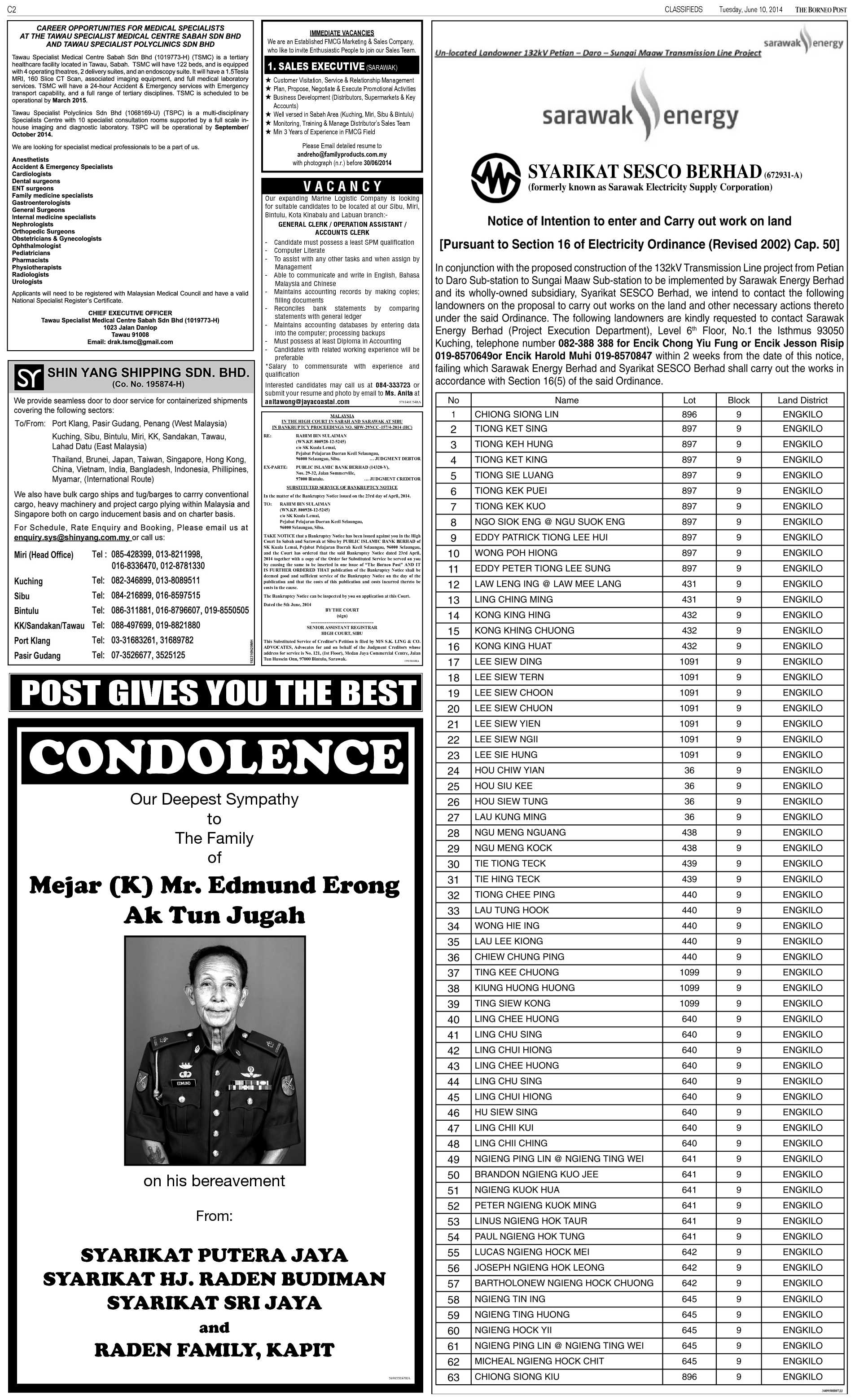 Tuesday - Jun 10 | The Borneo Post Classifieds