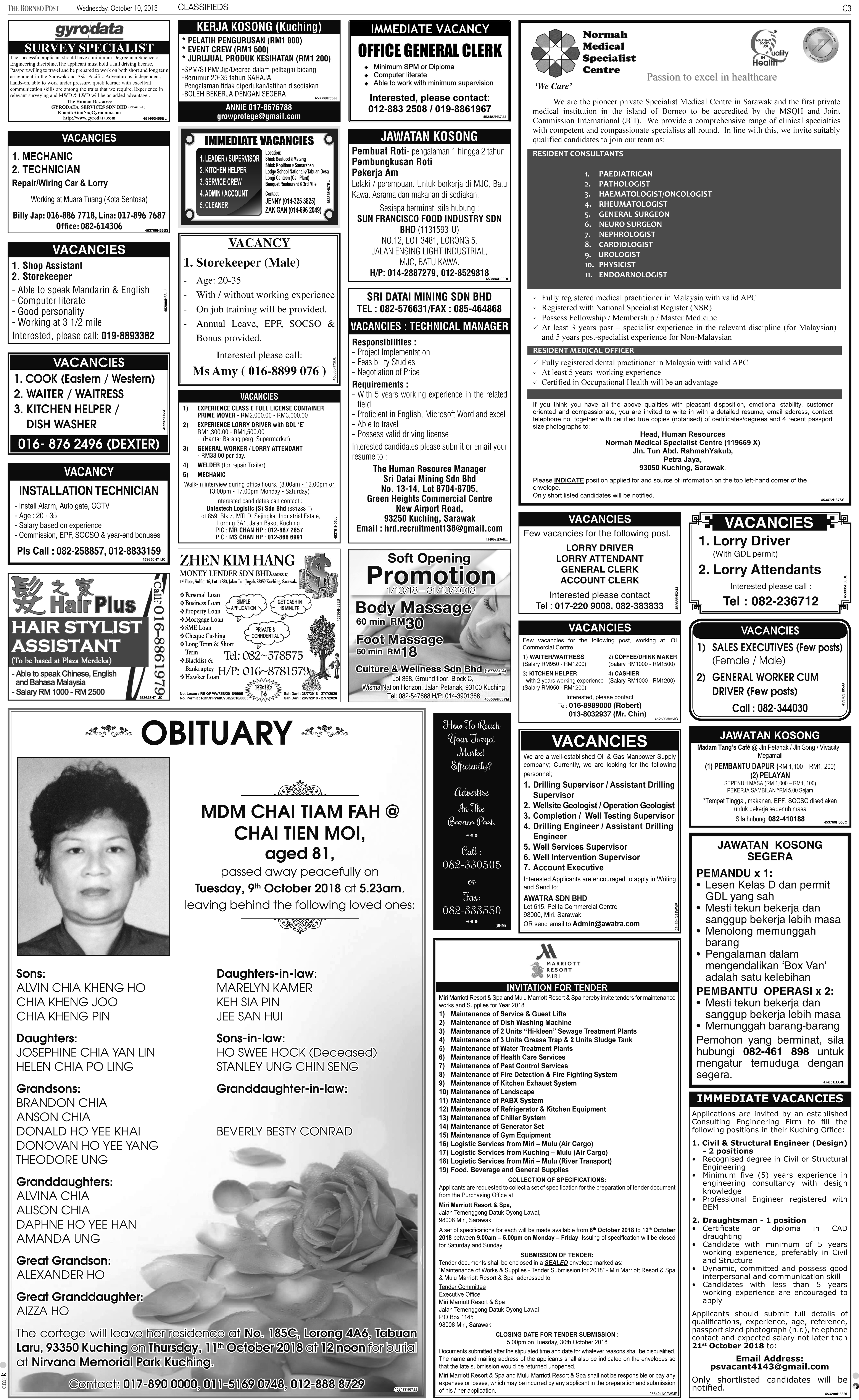 Wednesday - Oct 10 | The Borneo Post Classifieds