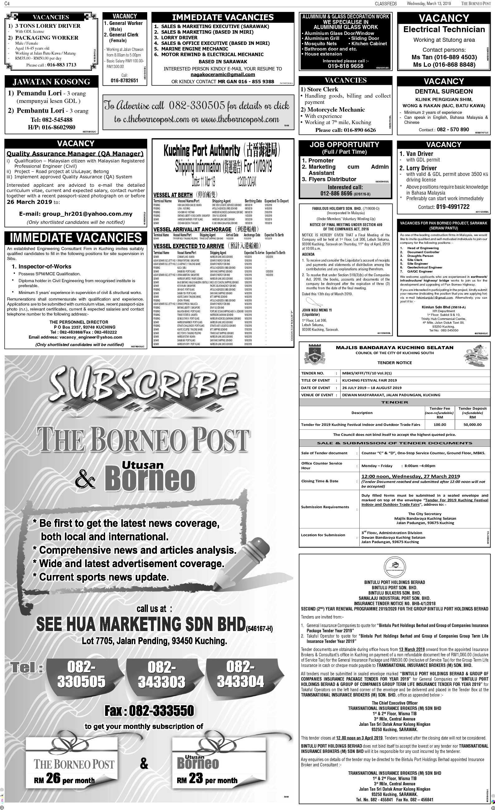 Wednesday - Mar 13 | The Borneo Post Classifieds