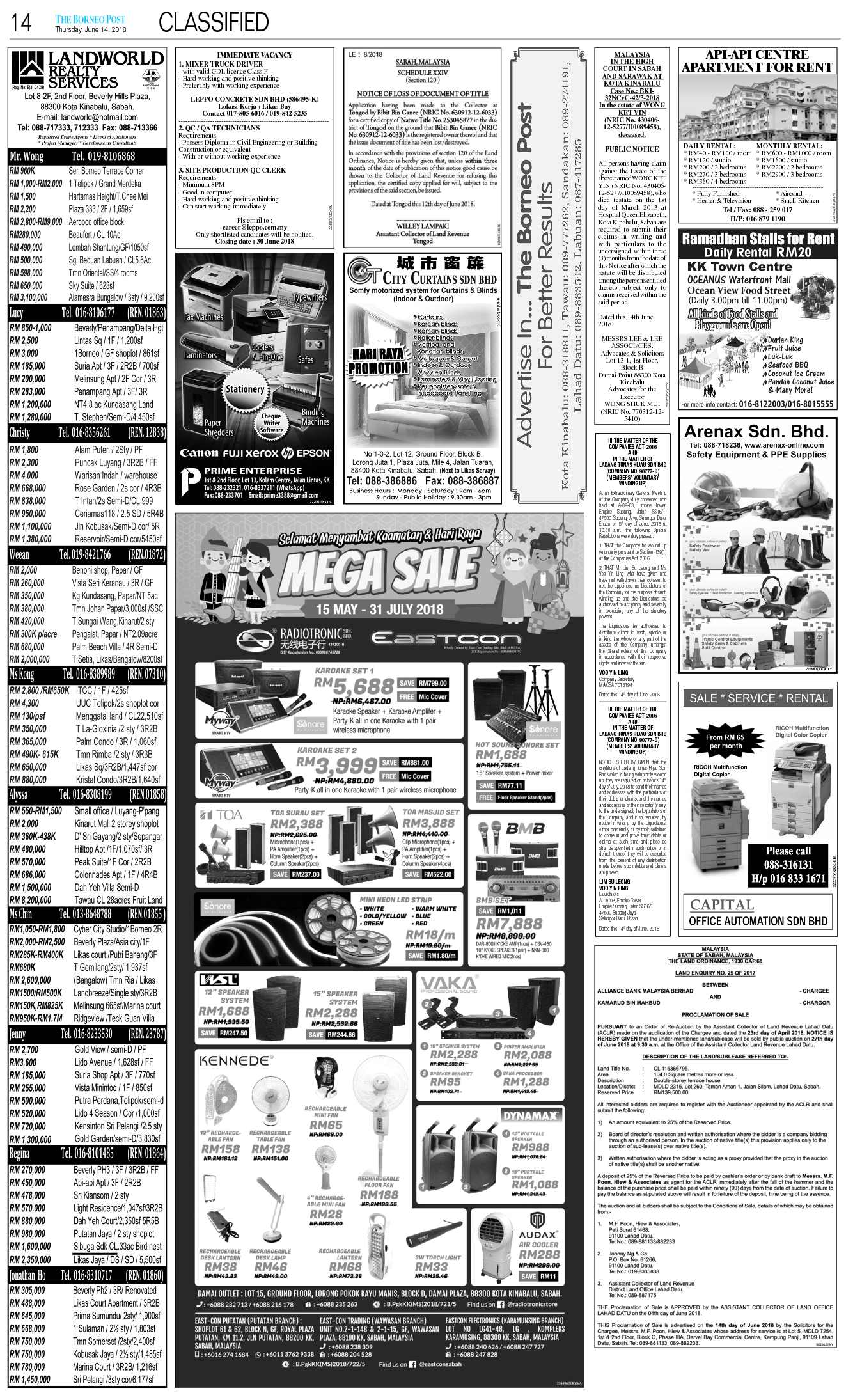 Thursday - Jun 14 | The Borneo Post Classifieds