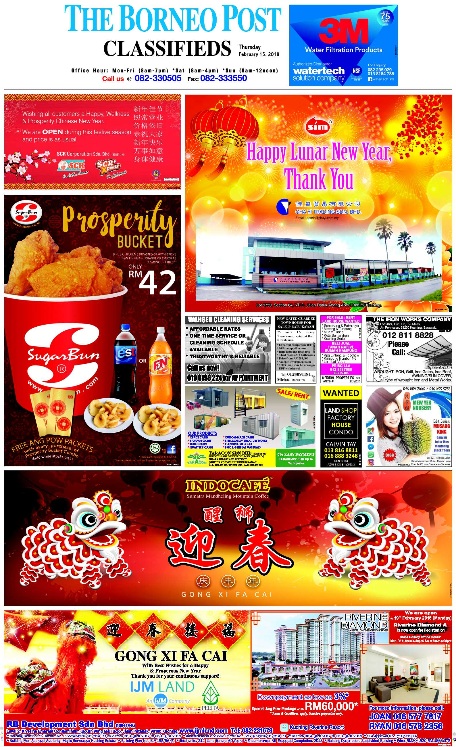Thursday - Feb 15 | The Borneo Post Classifieds
