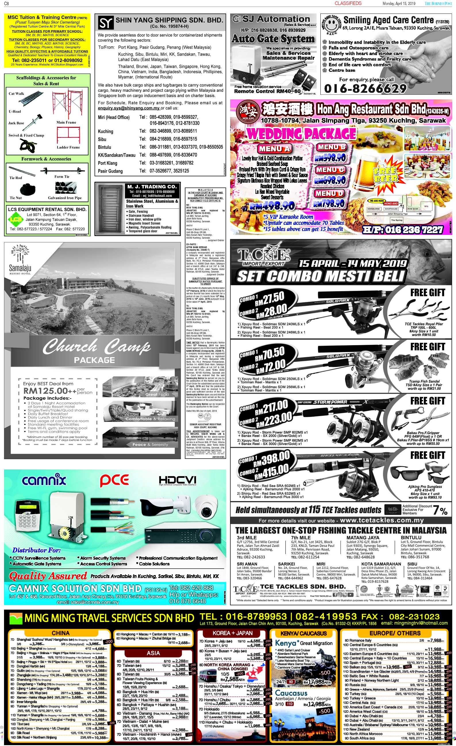Monday - Apr 15 | The Borneo Post Classifieds