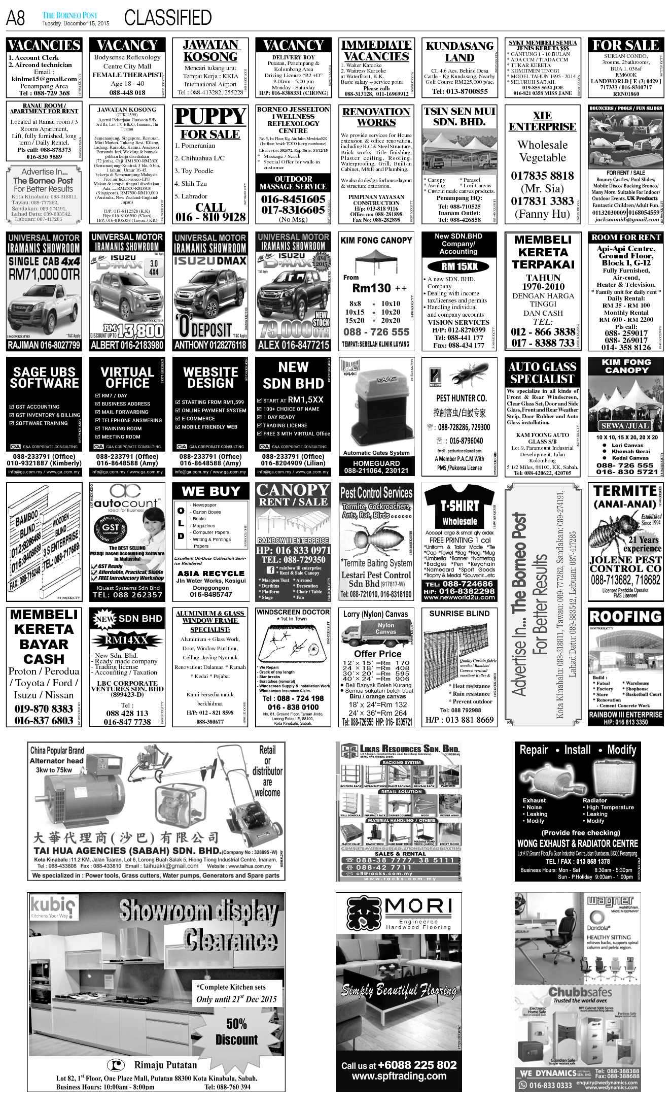 Tuesday - Dec 15 | The Borneo Post Classifieds