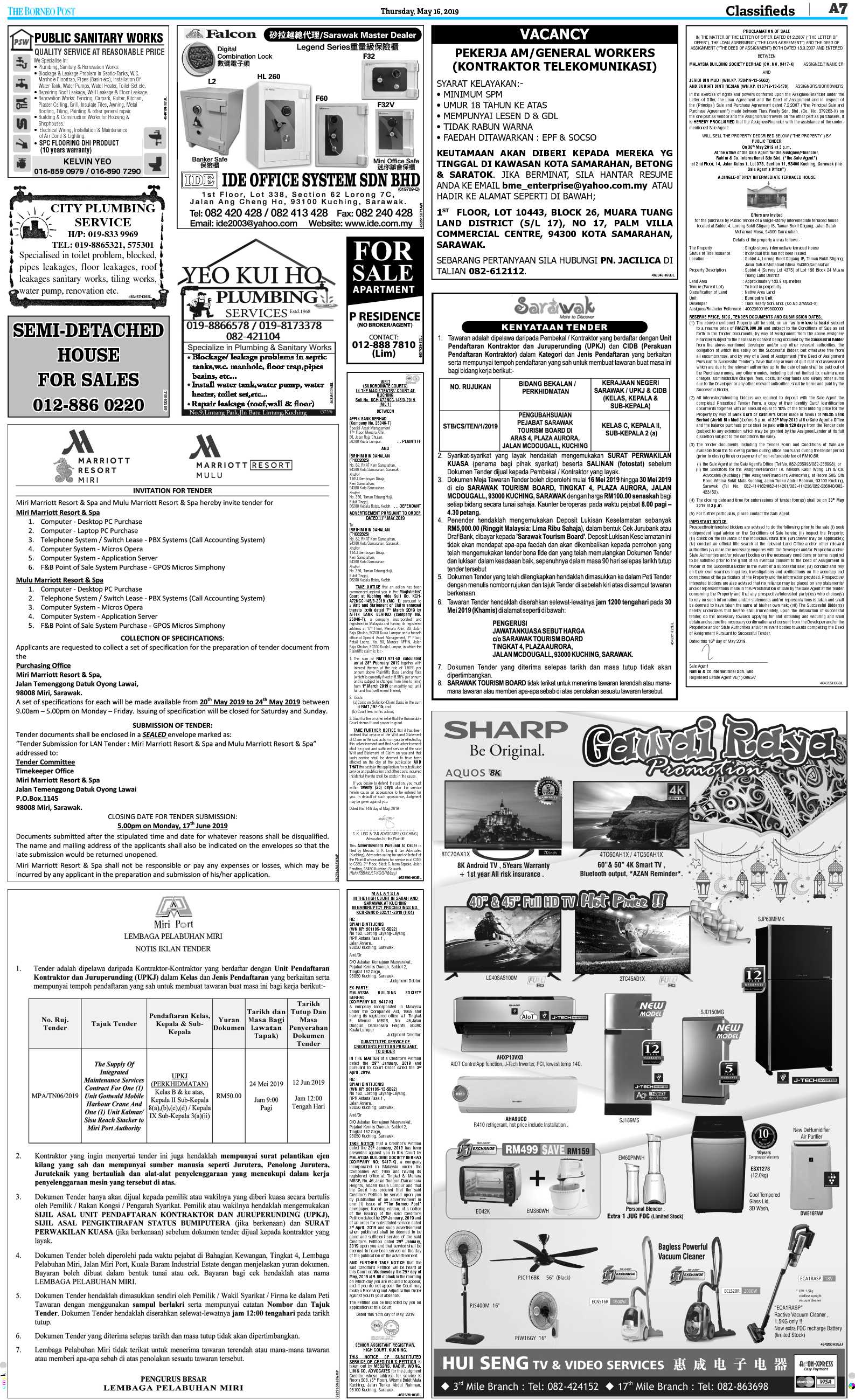 Thursday - May 16 | The Borneo Post Classifieds