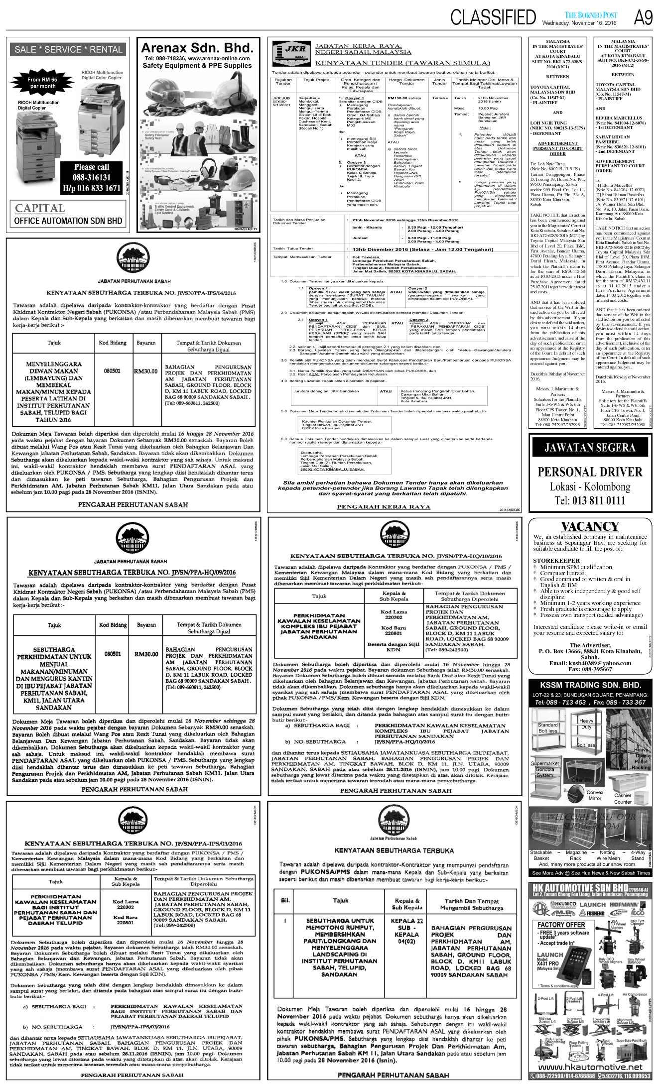 Wednesday Nov 16 The Borneo Post Classifieds