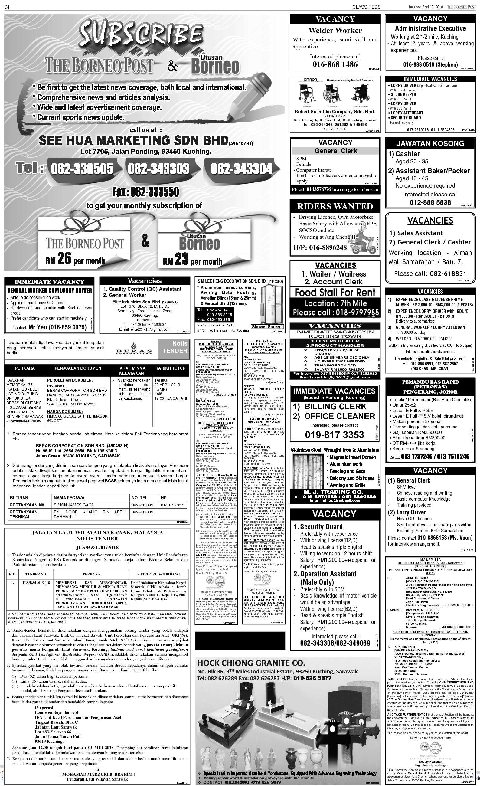 Tuesday - Apr 17   The Borneo Post Classifieds