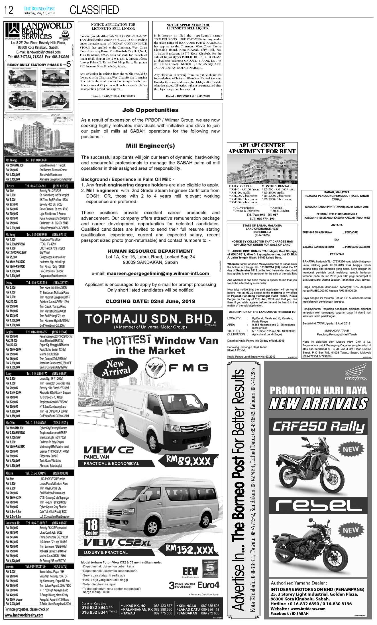 Saturday - May 18 | The Borneo Post Classifieds