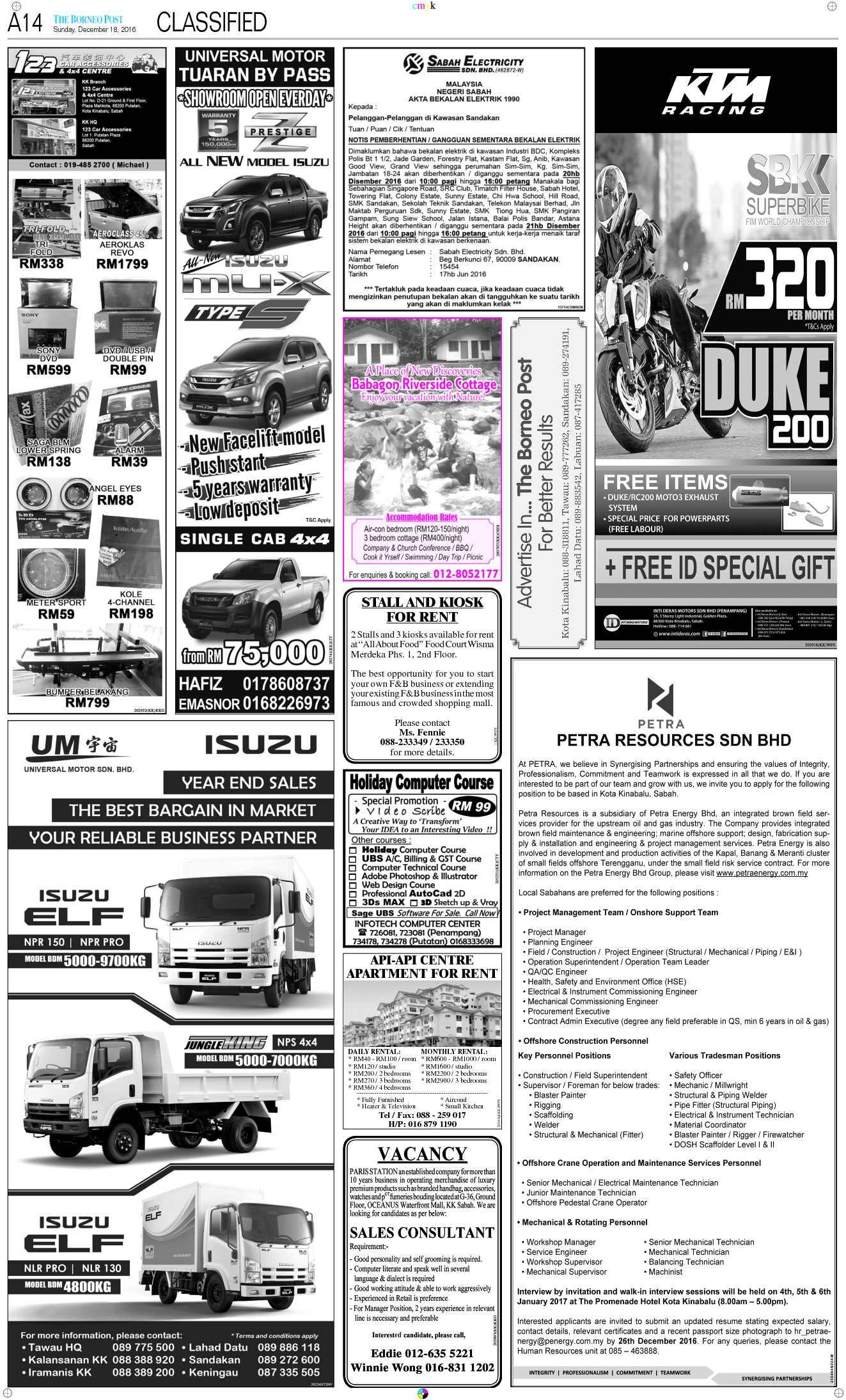 Sunday - Dec 18   The Borneo Post Classifieds