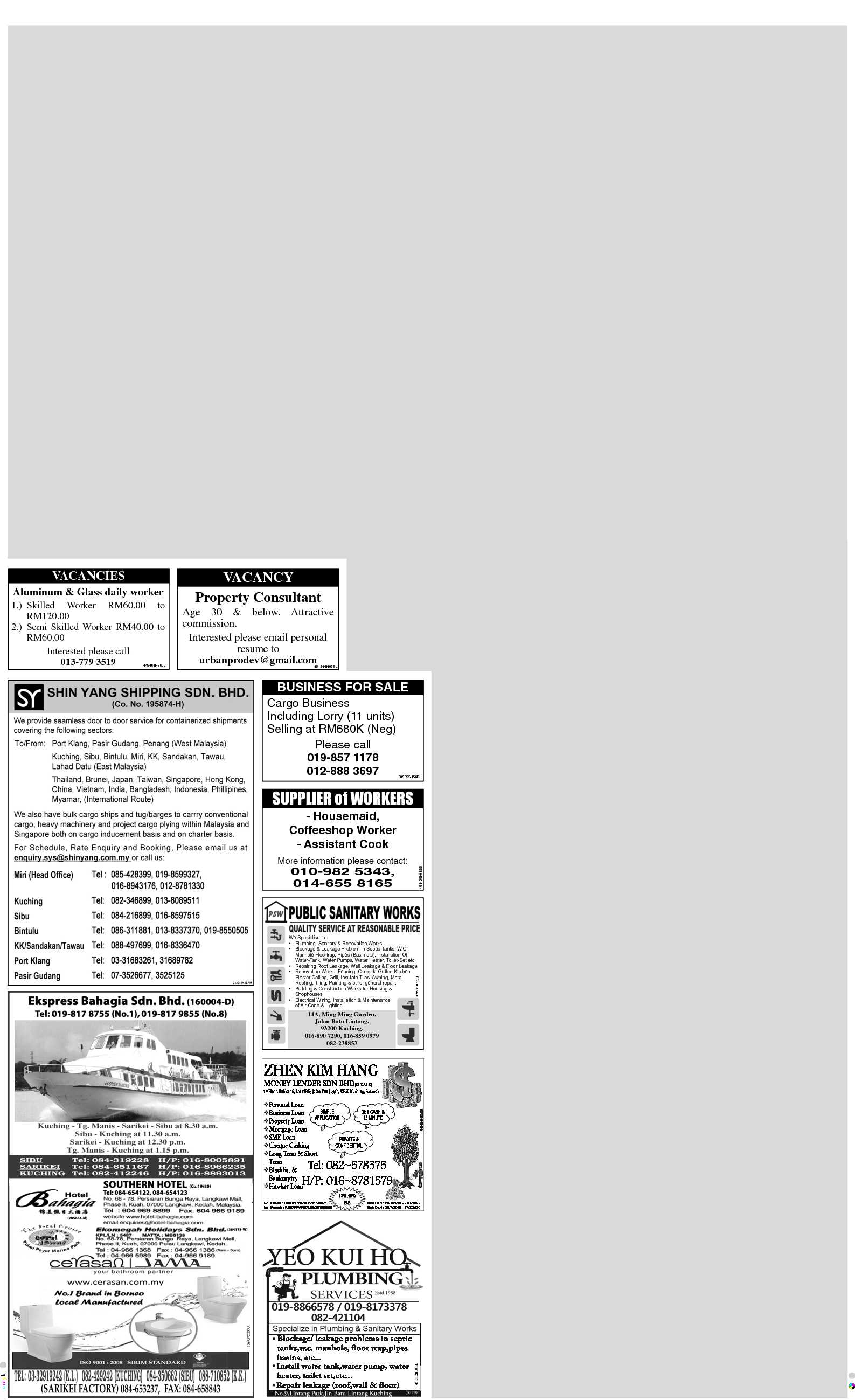Wednesday - Aug 22 | The Borneo Post Classifieds