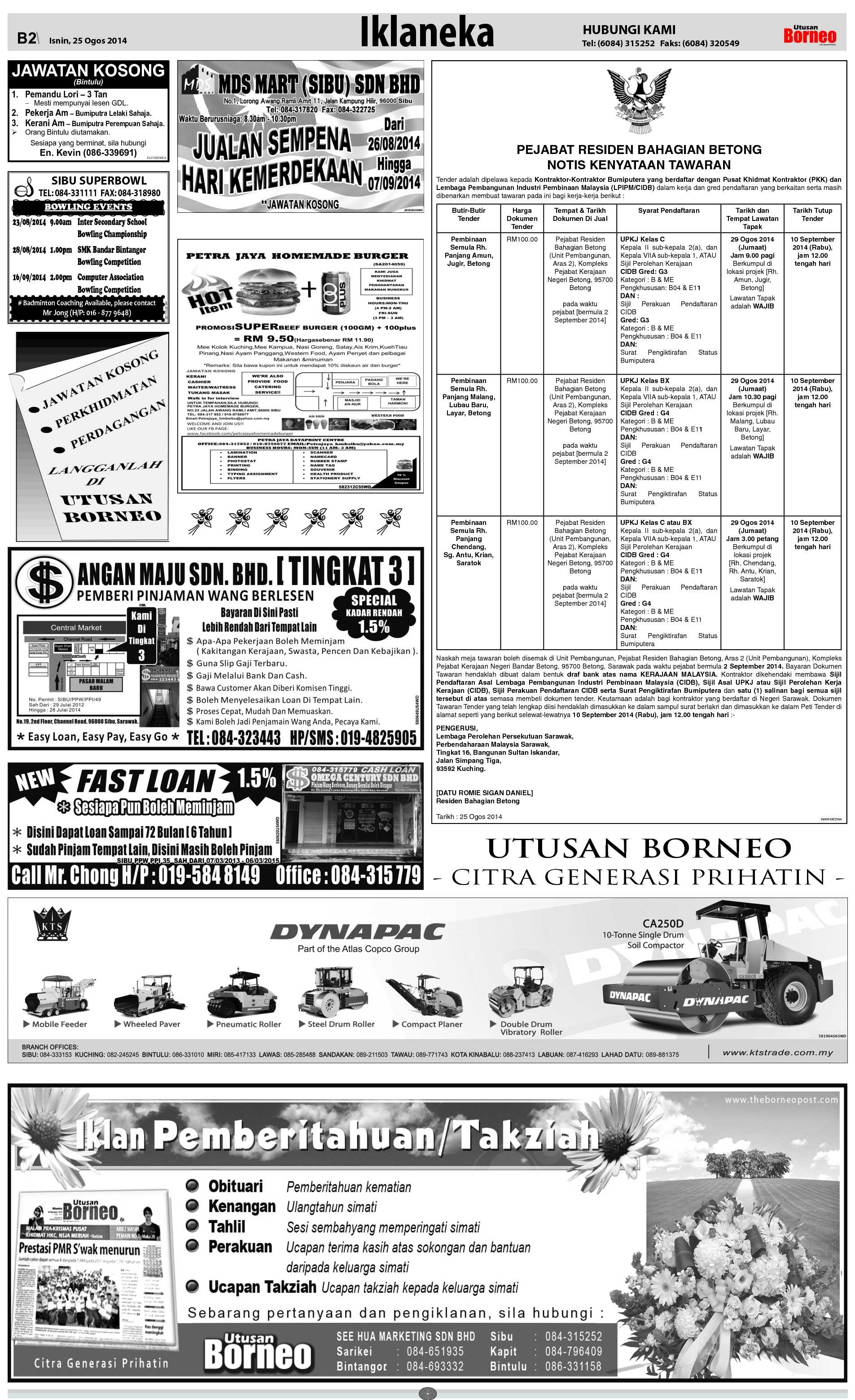 Monday - Aug 25 | The Borneo Post Classifieds