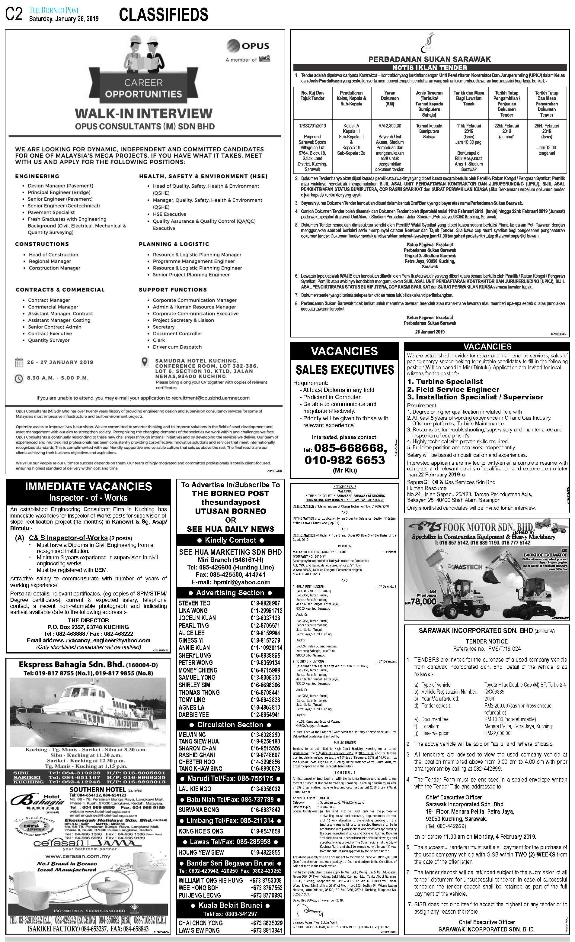 Saturday - Jan 26 | The Borneo Post Classifieds
