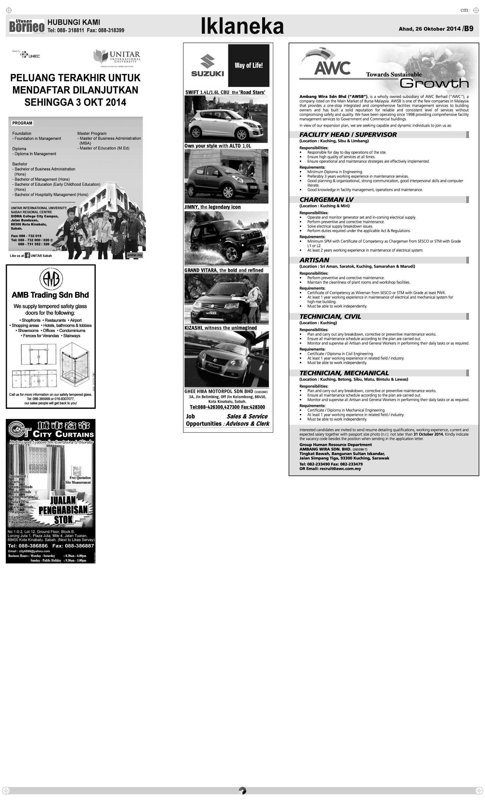 Sunday - Oct 26   The Borneo Post Classifieds