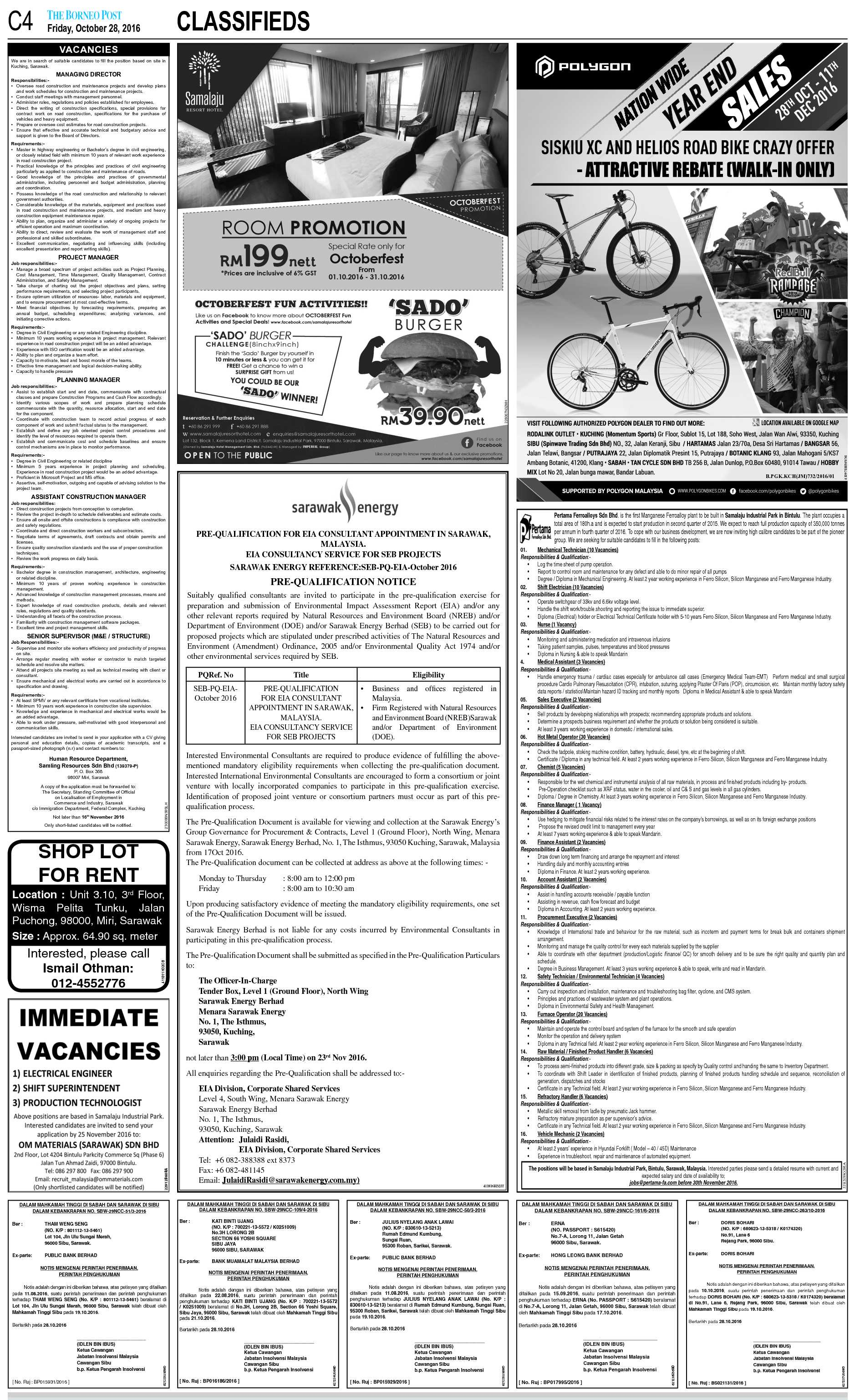 Friday - Oct 28 | The Borneo Post Classifieds
