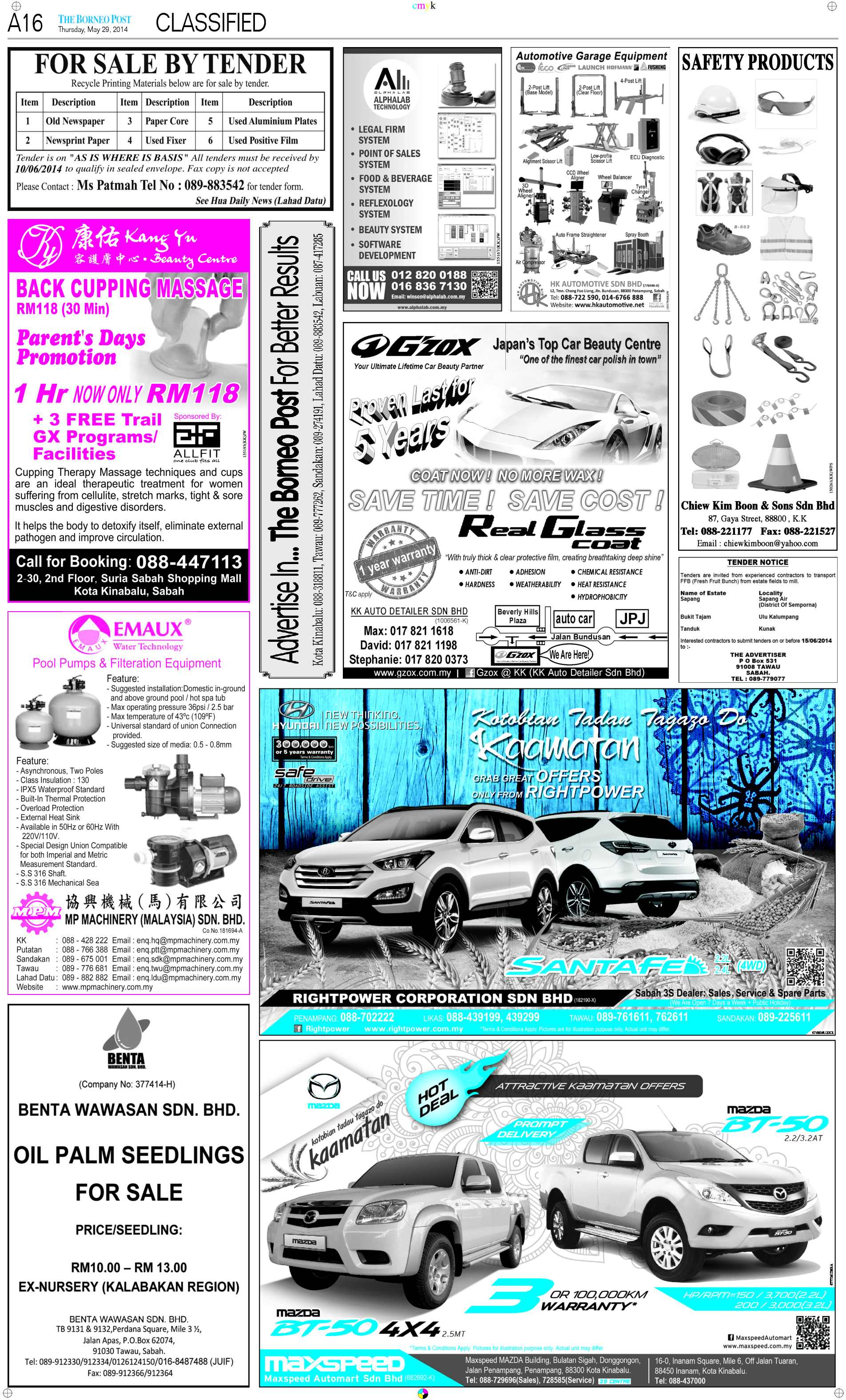 Thursday - May 29 | The Borneo Post Classifieds