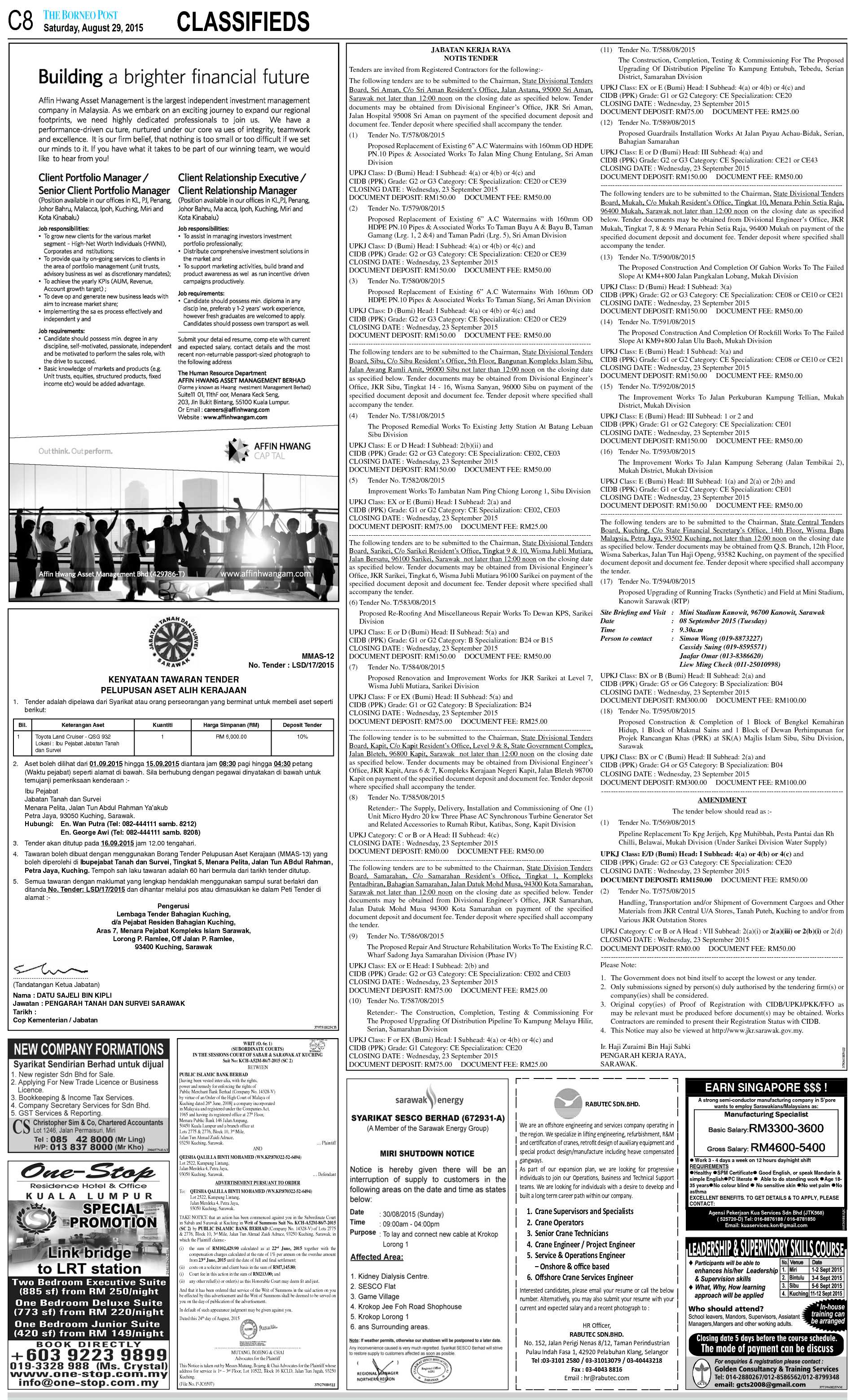 Saturday - Aug 29 | The Borneo Post Classifieds