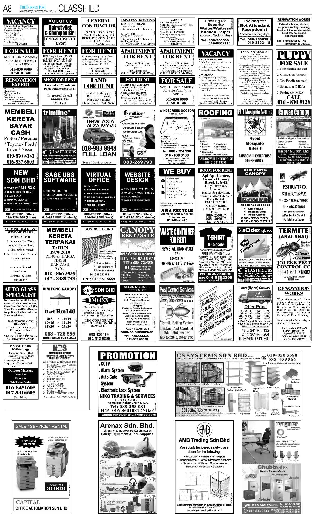 Wednesday - Sep 30   The Borneo Post Classifieds