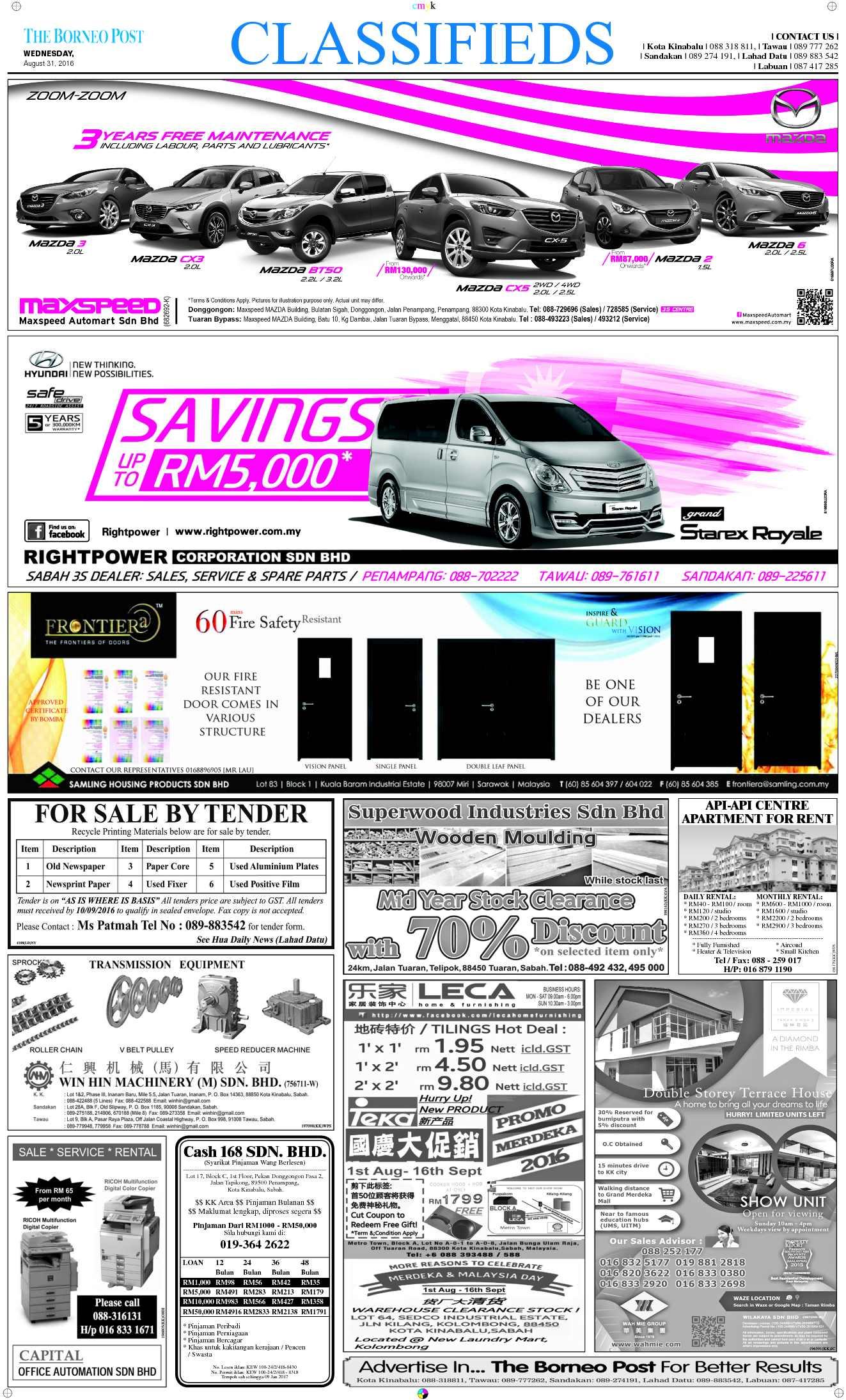 Wednesday - Aug 31 | The Borneo Post Classifieds