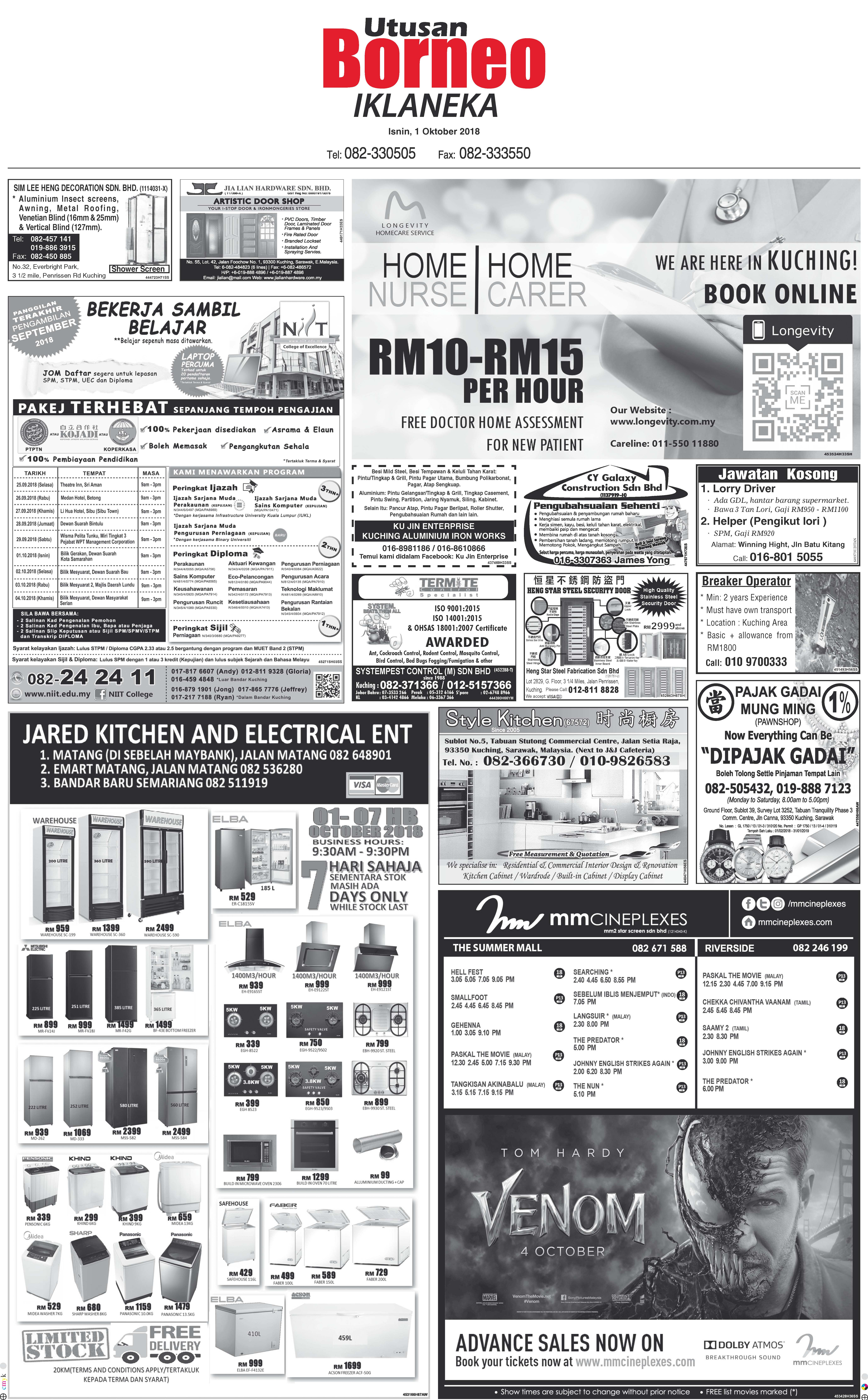 Monday - Oct 1 | The Borneo Post Classifieds