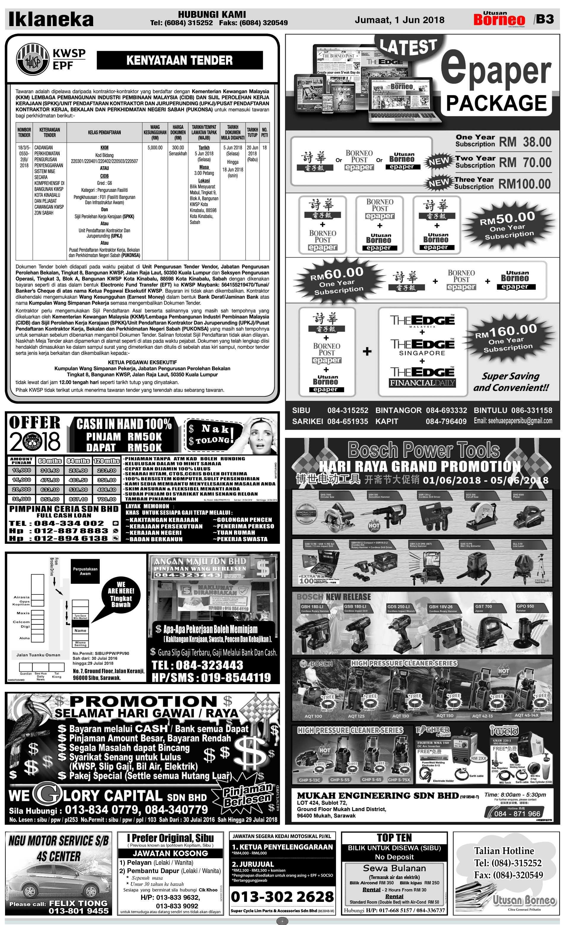 Friday - Jun 1   The Borneo Post Classifieds